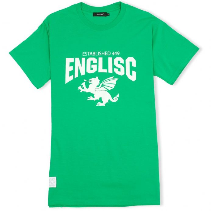 Englisc 449 green t-shirt with Senlak White Dragon woven patch